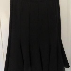 Black Flirty Gored Knee Length Skirt